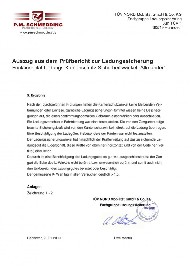 Auszug TÜV Prüfbericht Allrounder 2014